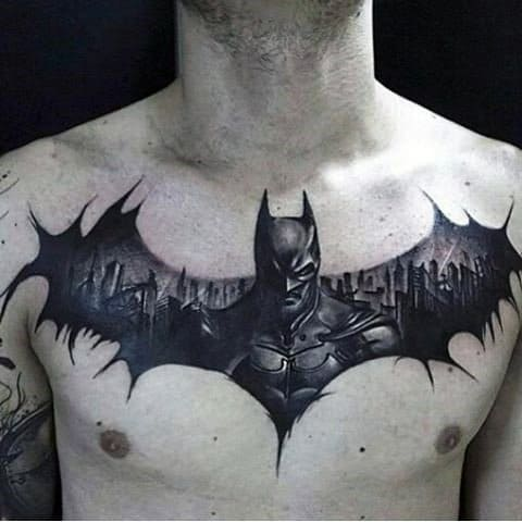Male Chest Manly Large Bat Tattoo