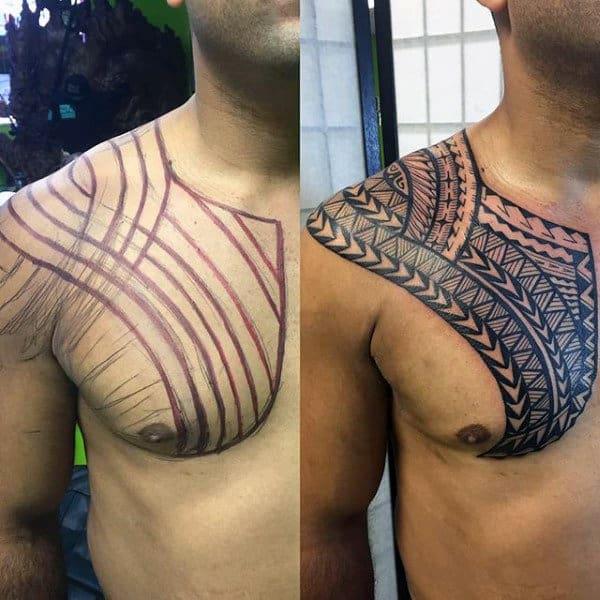 Male Chest Polynesian Tattoos