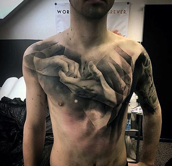 Male Chest Realistic Hands Black And White Tattoo