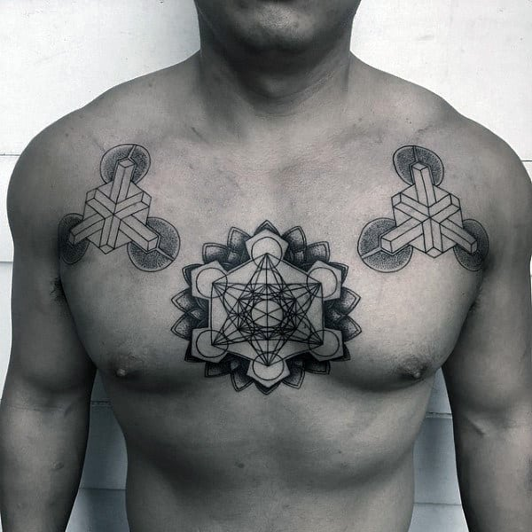 Male Chest Rectangle Sacred Geometry Tattoo