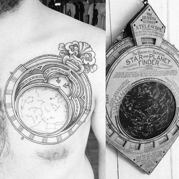 Male Chest Scientific Astronomy Tattoo