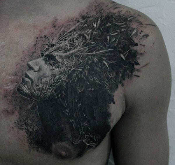 Male Chest Sick Tattoo Of Mans Splattering Brain