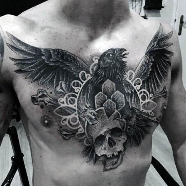 Male Chest Skull And Sparrow Negative Space Tattoos