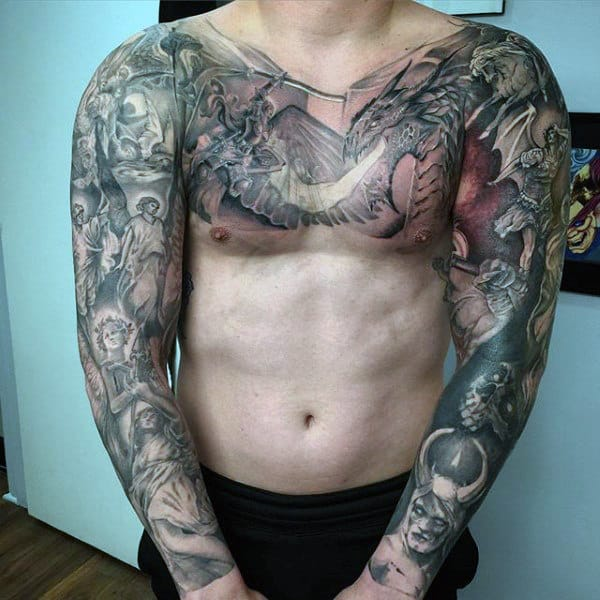 100 religious tattoos for men sacred design ideas for Religious chest tattoos