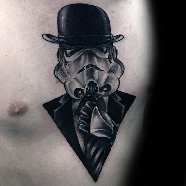 Male Chest Stromtrooper Tattoo With Great Design