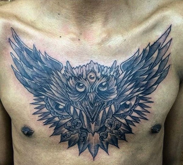 Male Chest Tattoo Owl Wings