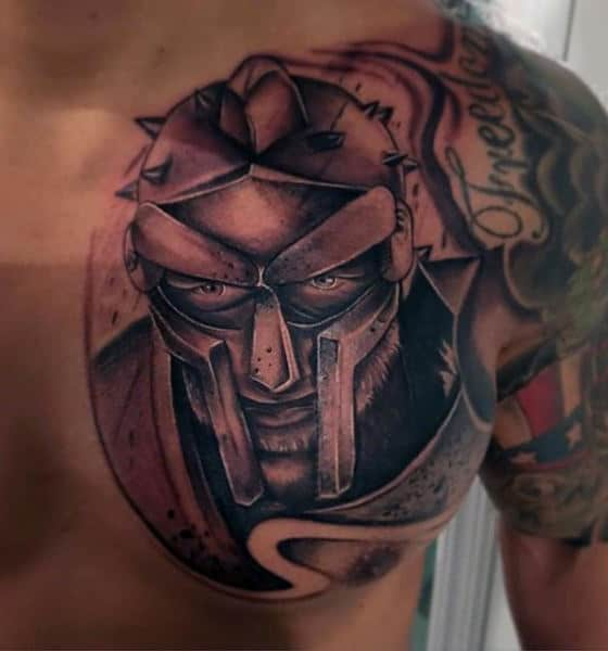 Male Chest Viking With Helmet Black And Grey Tattoo