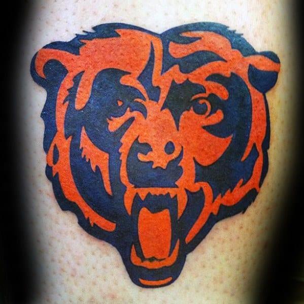 Male Chicago Bears Football Nfl Leg Tattoo Ideas