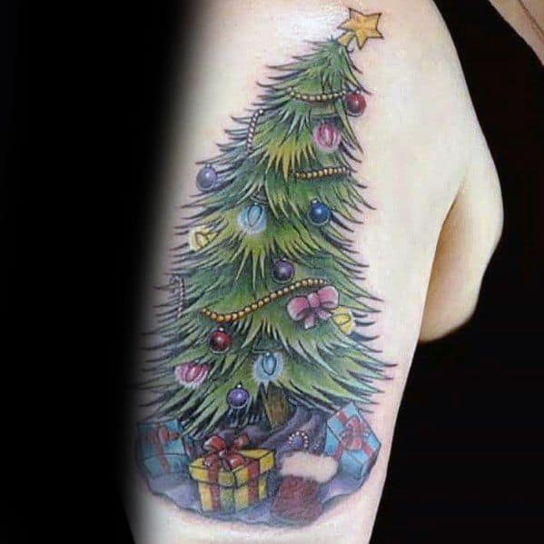 Male Christmas Tree Themed Tattoo Inspiration