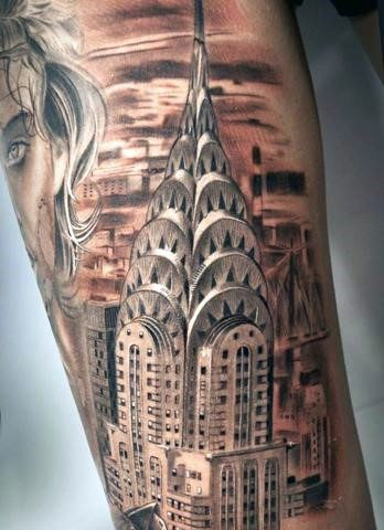 30 Chrysler Building Tattoo Ideas For Men Skyscraper Designs