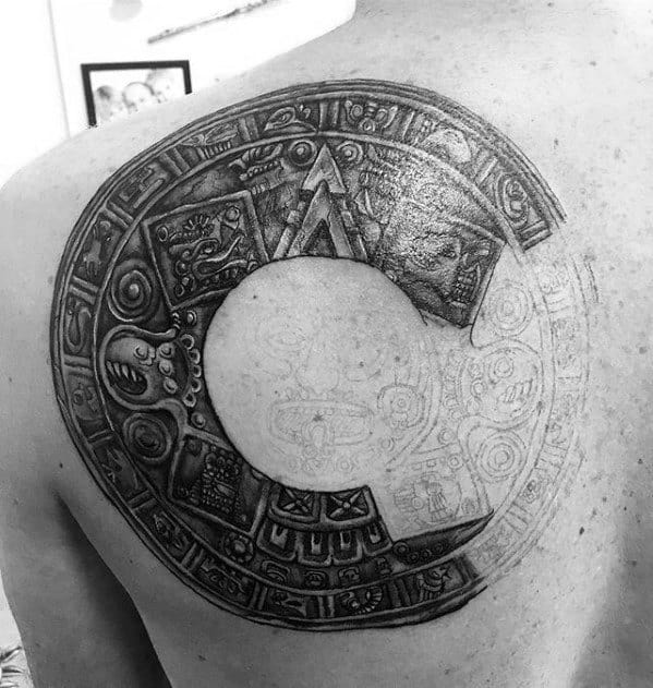 Male Circle Upper Back Mayan Calender Tattoo Ideas