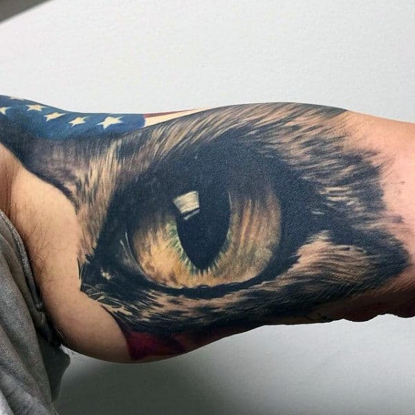 Male Clear Eye Tattoo Inner Biceps