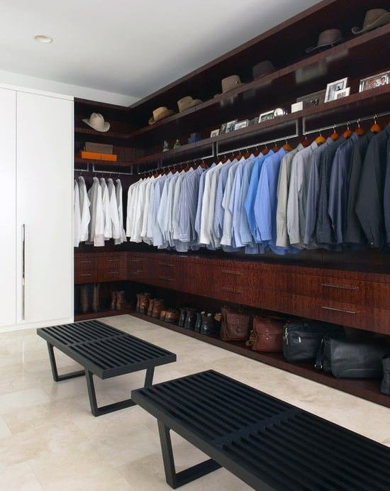 Male Closet With Suit Rack And Bag Rack