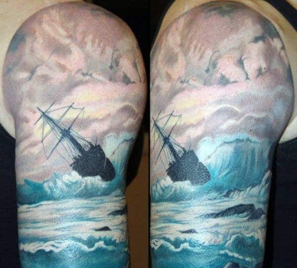 Male Cloud Arm Tattoos Of Ship Against Ocean Wave