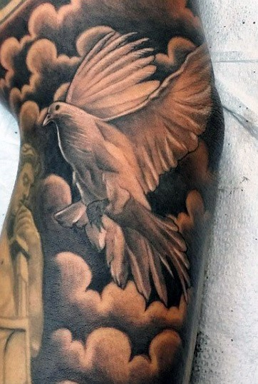 Male Cloud Shading Tattoo With Dove In Black Ink