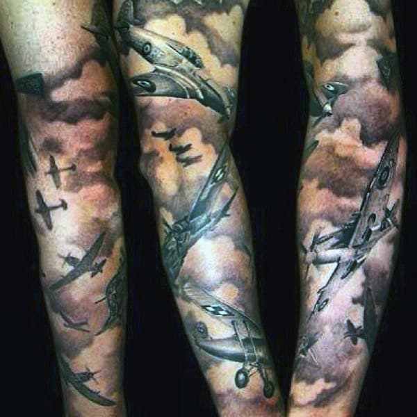 Male Cloud Tattoos With Planes Sleeves