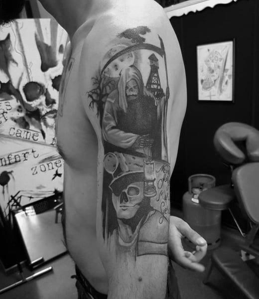 Male Coal Mining Themed Tattoo Inspiration