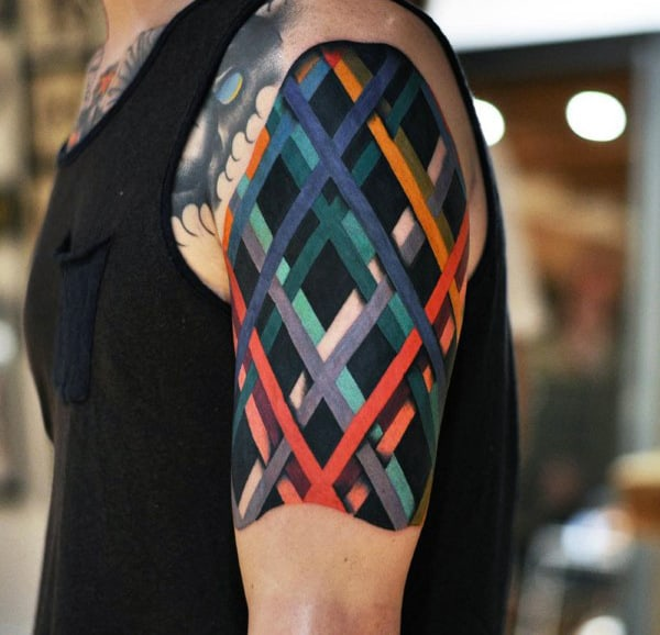 Male Colored Criss Cross Lines Quarter Sleeve Tattoo