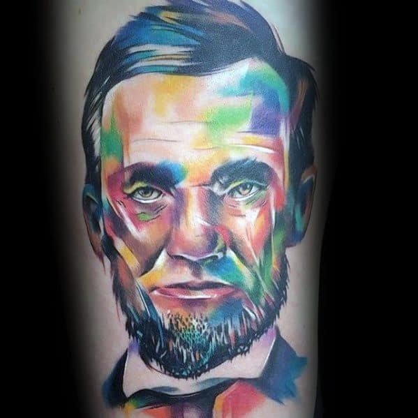 Male Colorful Portrait Abraham Lincoln Tattoo Design Inspiration