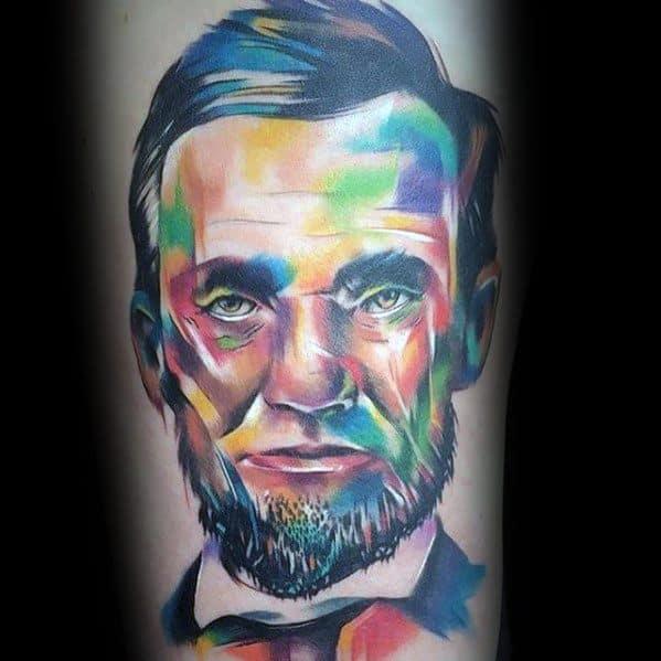 Male Colorful Portrait Abraham Lincoln Tattoo Design Inspiration