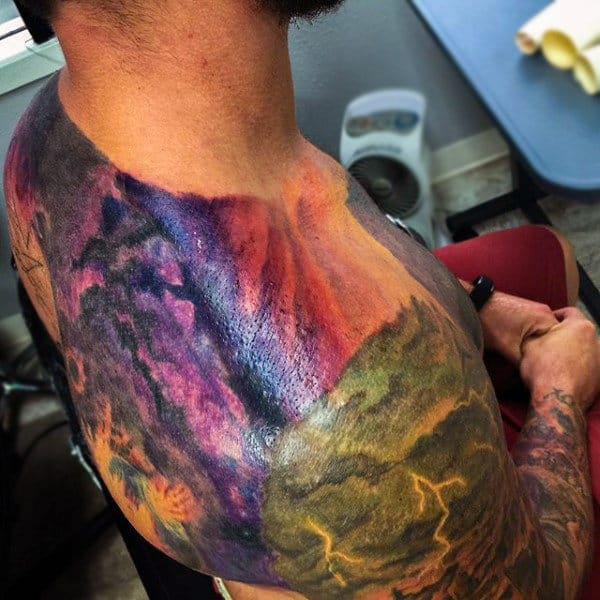 Male Colorful Shoulder Sunset Tattoo