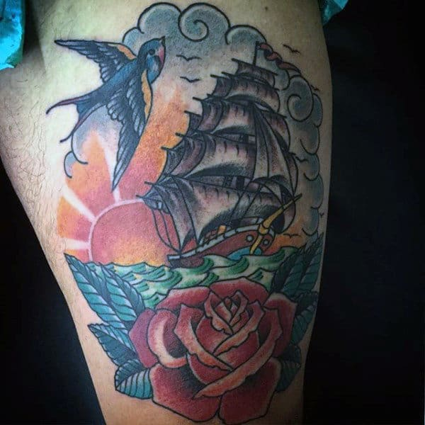Male Colorful Sparrow Ship And Rose Tattoo Arms