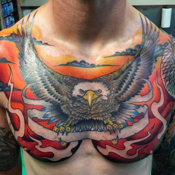 Male Colorful Traditional Style Eagle Sunset Tattoo