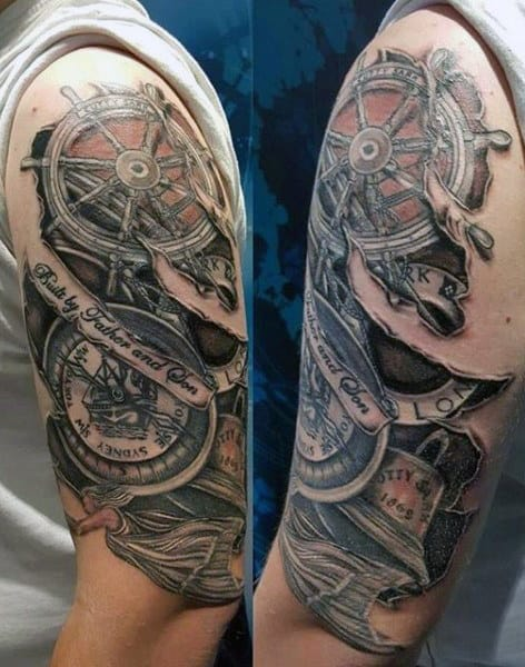 Male Compass Designs Tattoos