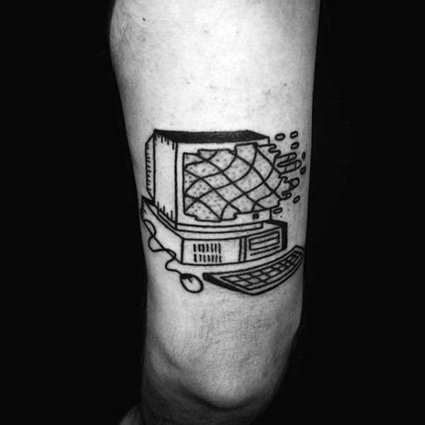 Male Computer Tattoo Ideas On Thigh