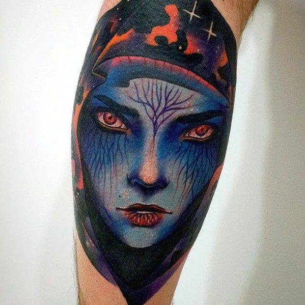 Male Consciousness Tattoo Ideas On Leg Calf