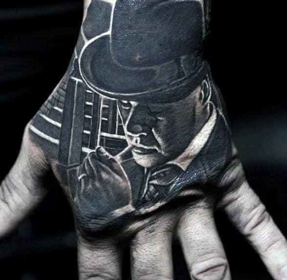 Male Cool 3d Hand Al Capone Tattoo Ideas