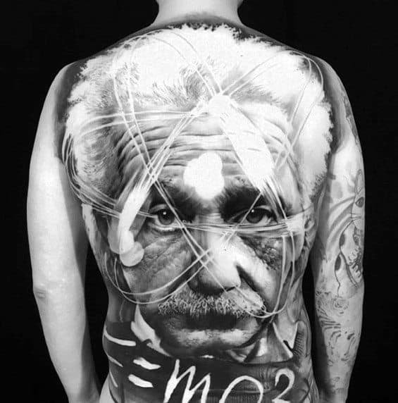 Male Cool Albert Einstein Full Back Negative Space 3d Tattoo Ideas