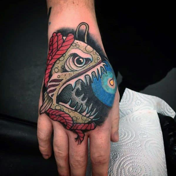 Male Cool Angler Fish Tattoo Ideas On Hand