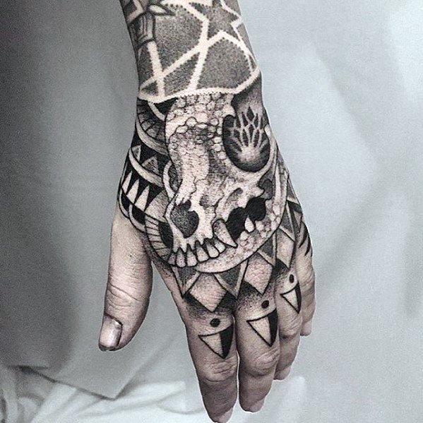 Male Cool Animal Skull Geometric Hand Tattoo Ideas