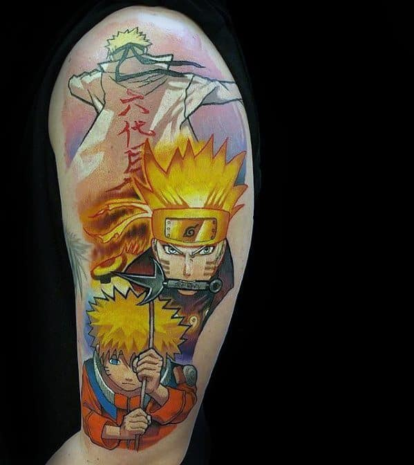 Male Cool Anime Naruto Tattoo Ideas Half Sleeve