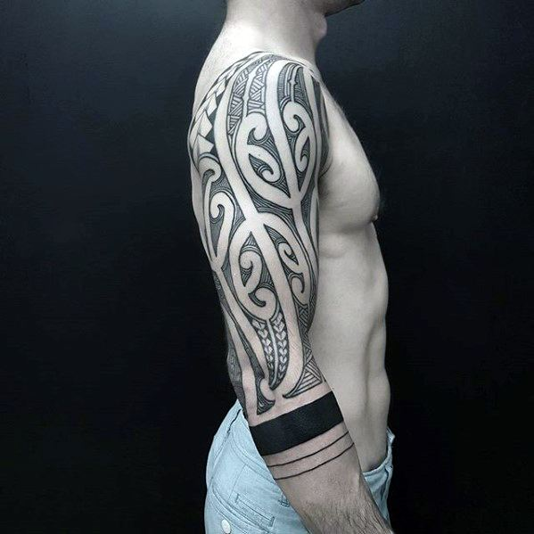 Male Cool Awesome Tribal Tattoo Ideas Half Sleeve