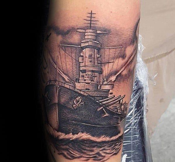 Male Cool Battleship Tattoo Ideas On Leg