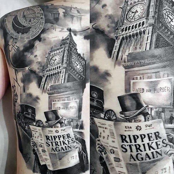 Male Cool Big Ben 3d Full Back Tattoo Ideas