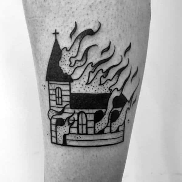 Male Cool Burning Church Tattoo Ideas
