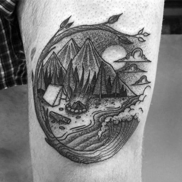 Male Cool Camping Thigh Shaded Tattoo Ideas
