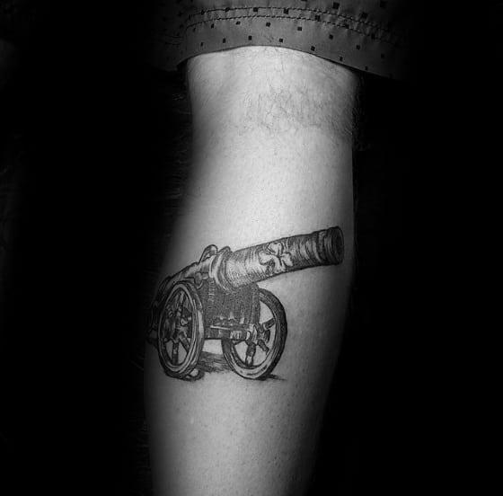 Male Cool Cannon Leg Calf Tattoo Ideas