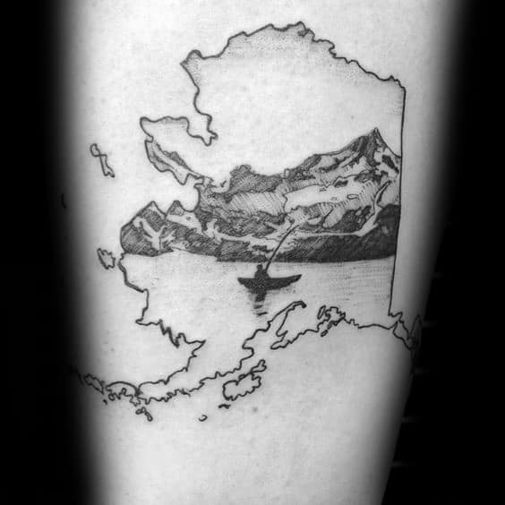 Male Cool Canoe Alaska Outline Tattoo Ideas