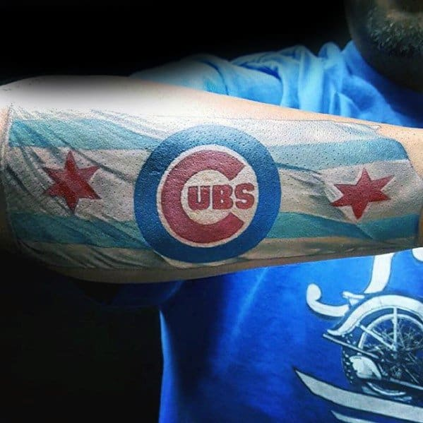 Male Cool Chicago Cubs Chicago Flag Outer Forearm Tattoo Ideas