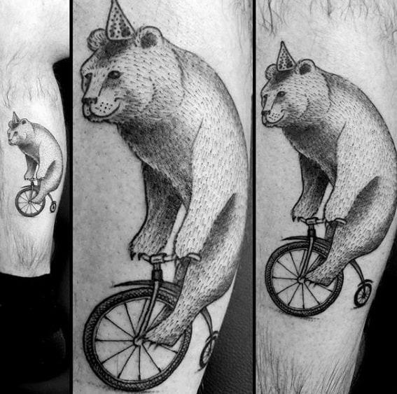 Male Cool Circus Bear On Unicycle Leg Tattoo Ideas