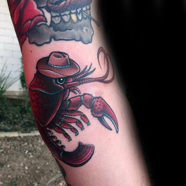 Male Cool Crawfish Tattoo Ideas On Side Of Arm