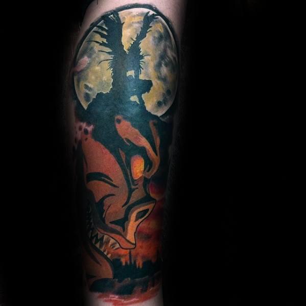 Male Cool Death Note Tattoo Ideas Leg Sleeve