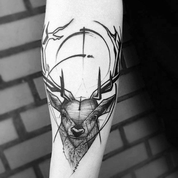 Male Cool Deer Forearm Sketch Tattoo Ideas