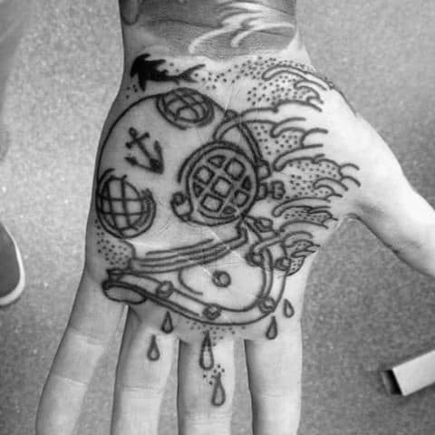 Male Cool Diving Helmet Tattoo Ideas On Palm Of Hand
