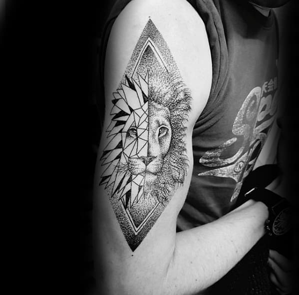 Male Cool Dotwork Arm Geometric Lion Tattoo Ideas