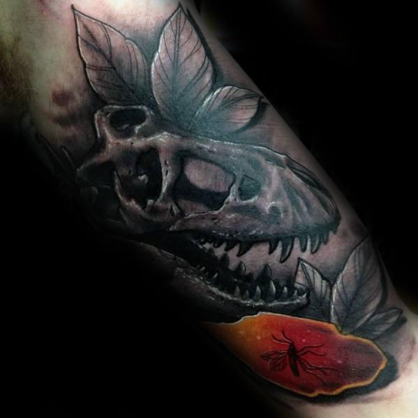 Male Cool Forearm Jurassic Park Tattoo Ideas